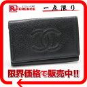 Six CHANEL caviar skin key case black 》 02P05Apr14M 02P02Aug14 for 《