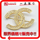 Chanel CC rhinestone brooch gold fs3gm