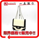 Chanel enamel x KAF chocolate bar W chain shoulder bag White x black s correspondence.""