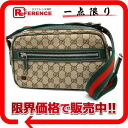 "Gucci horsebit GG shoulder bag beige x green / Sherry 145814 ""response.""-02P11Jan14"