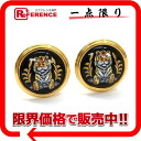 "Hermes cloisonne earrings black series: x gold ""response.""-02P05Apr14M02P02Aug14"
