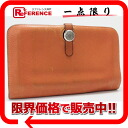 "Hermes 2 fold wallet ""Dogon GM"" slope Orange silver hardware with coin purse B inscribed ""response."""