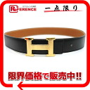 "Hermes reversible H belt box 70 Cafe x slope black x gold gold bracket F inscribed ""response.""-02P11Jan14"