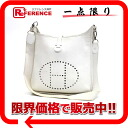 "1 HERMES ""Ebb phosphorus"" PM shoulder bag Epson white silver metal fittings H 刻 》 for 《"