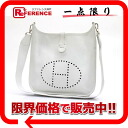 "2 HERMES ""Ebb phosphorus"" PM shoulder bag Epson white silver metal fittings L 刻 》 for 《"