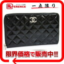 CHANEL brilliant round fastener long wallet patent leather black