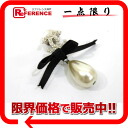 CHANEL 04A CC ribbon pearl pin broach silver 》 02P01Feb14 for 《
