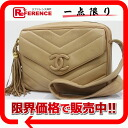 "Chanel lambskin V stitch shoulder bag with fringe beige ""response.""-02P01Feb14"