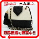 Black X white system 》 with the CHANEL lambskin X canvas quilting chain shoulder bag fringe for 《