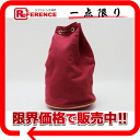 "HERMES ""ポロションミミル"" canvas drawstring purse one shoulder bag red beauty product 》 for 《"