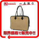 32 エルメスプリュム mini-Boston handbag canvas X avian Yong Clement's beige X black gold metal fittings G 刻 》 for 《
