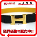 "Hermes minicomputer stance H belt 65 reversible クシュベル × クシュベル Navy × yellow A ticking ""response."""