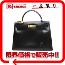 "HERMES handbag ""Kelly 32 sewing boxcalf black gold metal fittings old R 刻 》 out of"" for 《"