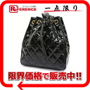 CHANEL enamel quilting drawstring purse rucksack black 》 for 《
