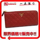 "Prada SAFFIANO (saffiano) quilting L-shaped zip long wallet red 1M1183 ""enabled."""