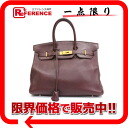 "35 HERMES highest peak handbag ""Birkin"" avian Yong Clement's dark brown gold metal fittings B 刻 》 for 《"
