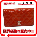 CHANEL brilliant round fastener long wallet patent leather A48691 orange 》 for 《