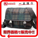 VA0769 》 of PRADA checked pattern shoulder bag brown X Green line for 《