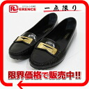 38 Louis Vuitton coating leather Lady's driving shoes loafer black / gold metal fittings 》 for 《