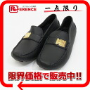 Louis Vuitton leather Lady's driving shoes loafer navy / gold metal fittings 35-free 》 for 《