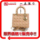 Dior lady dior lambskin 2WAY handbag beige X pink gold metal fittings 》 for 《