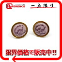 HERMES earrings gold X light purple system 》 for 《