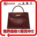 "HERMES handbag ""Kelly 32 sewing ボックスカーフルージュヴィフ X gold metal fittings K 刻 》 out of"" for 《"