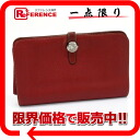 "Hermes 2 fold wallet ""Dogon GM"" slope red silver metal coin case with E ticking ""response."""