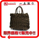 PRADA nylon canvas frill tote bag brown BN1728 》 02P05Apr14M for 《