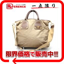 "Prada nylon x leather 2-WAY handbag beige x Brown? s support.""02P05Apr14M"