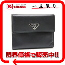 "Prada leather tri-fold goods fabric black ""response.""-02P05Apr14M02P02Aug14"
