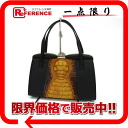 X black 》 of caiman X leather pouch handbag Brown line for 《