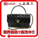 "Chanel patent leather V stitch 2-WAY shoulder bag black ""response."""