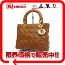 Dior lady dior lambskin handbag brown X gold metal fittings 》 for 《