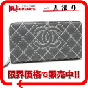 CHANEL calfskin CC kilt stitch round fastener long wallet gray X light pink A69211-free 》 for 《