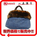 Tote bag blue X brown BN2182 》 with the PRADA denim fur for 《