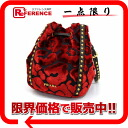 PRADA velour studs drawstring purse handbag red BN1818 》 for 《