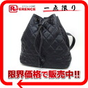 CHANEL caviar skin quilting drawstring purse rucksack navy 》 for 《