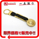 Gianni Versace metal X leather key ring gold X black 》 02P02Aug14 for 《