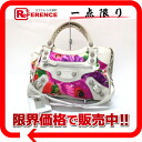 "BALENCIAGA flower editors bag ""the giant city"" multicolored X white 173084"
