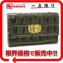 "Miu Miu Croco Embossed leather trifold inside wallet khaki series ""correspondence."""