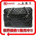 CHANEL patent leather matelasse chain shoulder tote bag black 》 for 《