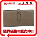 """Two fold long wallet """"ベアンスフレ"""" シェーブルコロマンデルエトープシルバー metal fittings K 刻 》 with the HERMES gusset for 《"""