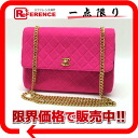 CHANEL jersey matelasse single chain shoulder shocking pink