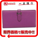 "Two HERMES fold long wallet ""ベアン"" ヴォー Epson cyclamen silver metal fittings H 刻 》 for 《"