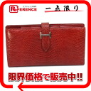 "Two fold long wallet ""ベアンスフレ"" lizard rouge system silver metal fittings N 刻 》 with the HERMES gusset for 《"