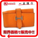 "Hermes Bernd 4-key case sherburcolomandel Orange K engraved ""response.""-02P02Aug14"