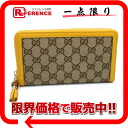 "Gucci GG canvas zip around wallet bamboo tassel charm with beige / yellow 308281 not use ""compatible."""