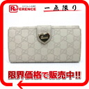 Gucci HEART (heart) guccissima W hook length wallet ivory series 203550? s support.""