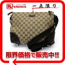 Gucci GG canvas slant credit shoulder bag beige X dark brown 114273 》 for 《